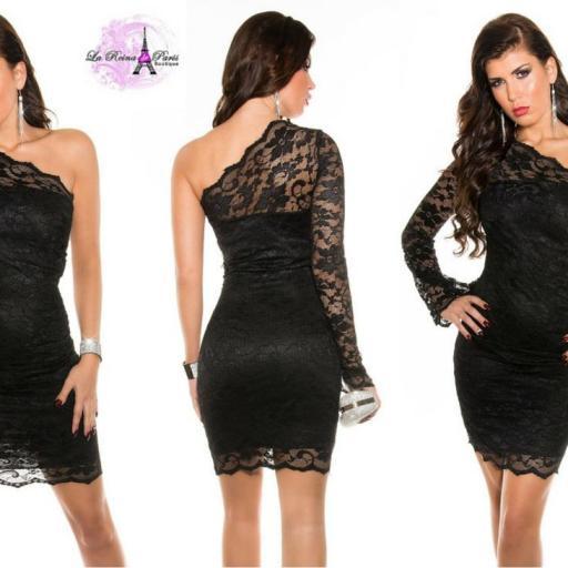 Vestido de fiesta entallado encaje negro [2]