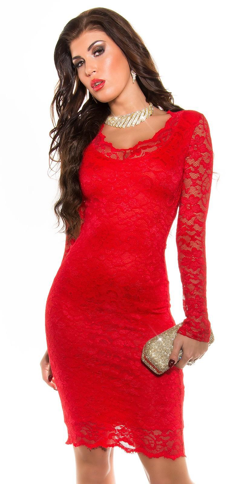 Vestido de fiesta rojo de encaje chic
