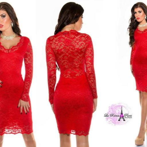 Vestido de fiesta rojo de encaje chic [1]