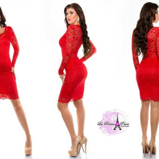 Vestido de fiesta rojo de encaje chic [2]