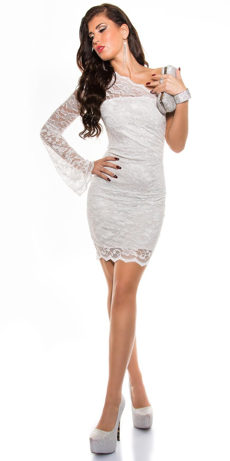 Vestidos de moda blanco de encaje ceñido