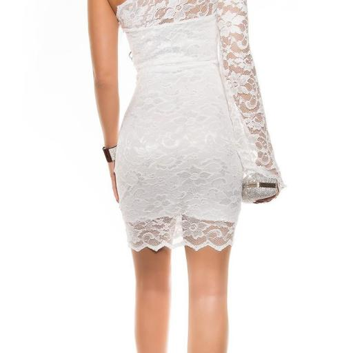 Vestidos de moda blanco de encaje ceñido [2]