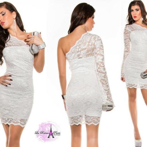 Vestidos de moda blanco de encaje ceñido [3]