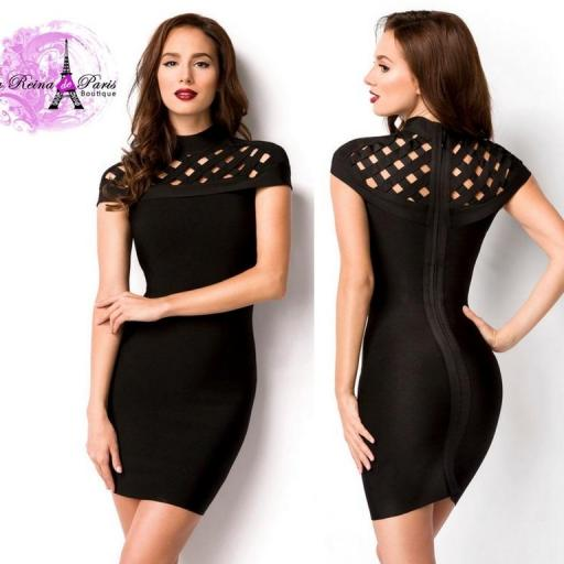 Atractivo vestido lujo bandage negro