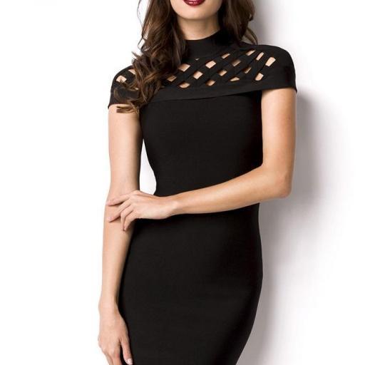Atractivo vestido lujo bandage negro [1]