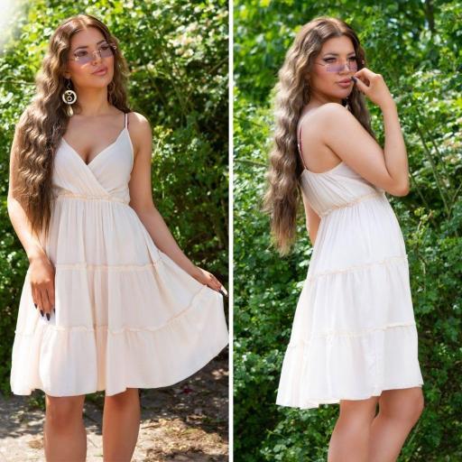 Vestido de tirantes finos beige