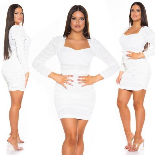 Vestido ajustado con volantes blanco