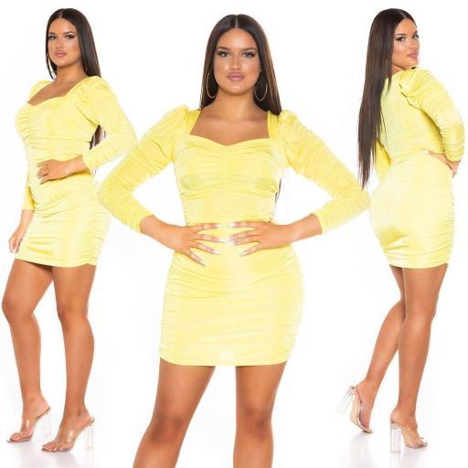 Vestido ajustado con volantes amarillo