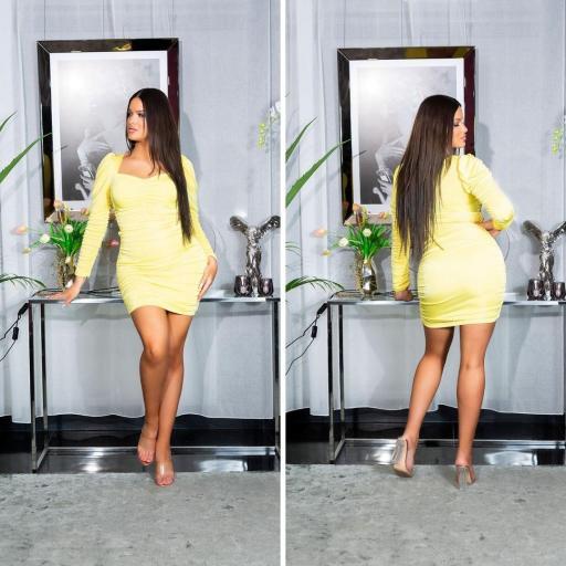 Vestido ajustado con volantes amarillo [2]