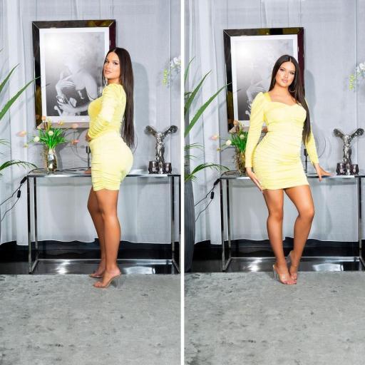 Vestido ajustado con volantes amarillo [3]
