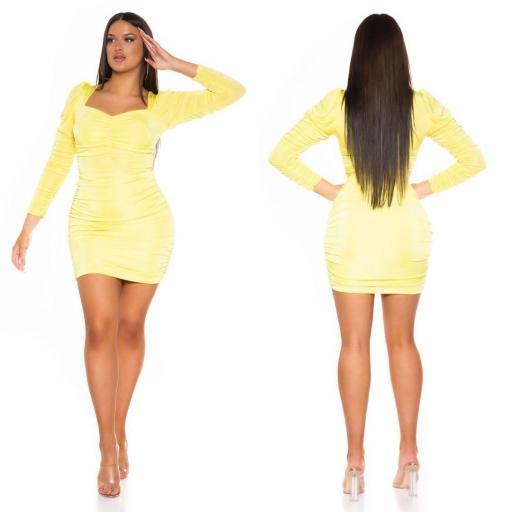 Vestido ajustado con volantes amarillo [1]