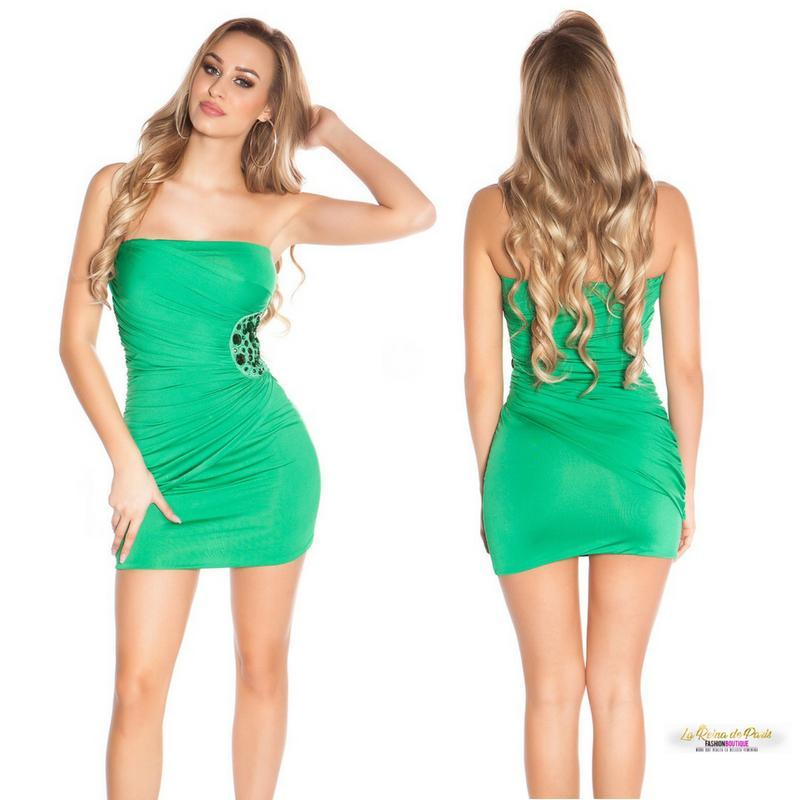 Mini vestido verde bandeau bordado