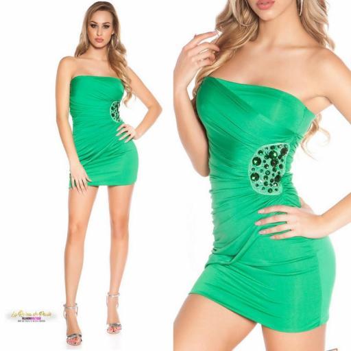 Mini vestido verde bandeau bordado  [3]
