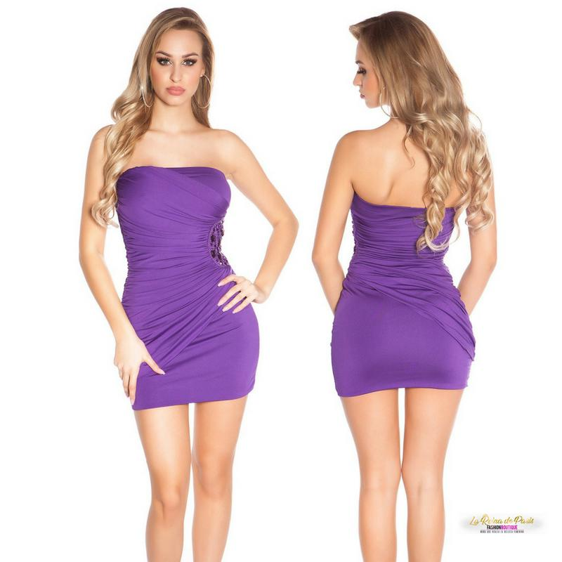 Mini vestido púrpura bandeau bordado