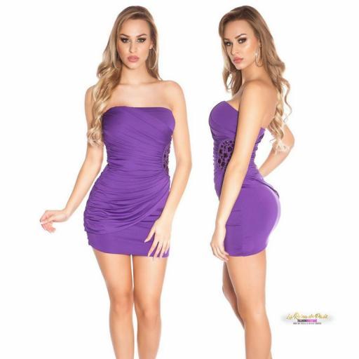 Mini vestido púrpura bandeau bordado  [1]