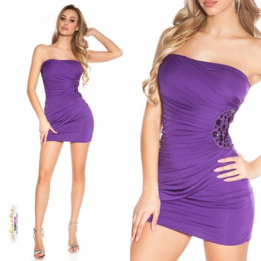 Mini vestido púrpura bandeau bordado  [3]