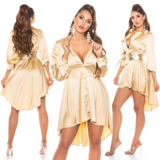 Vestido efecto seda oro