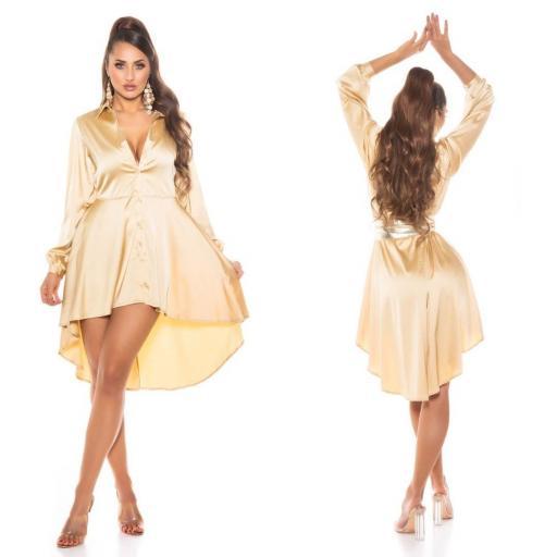 Vestido efecto seda oro [1]