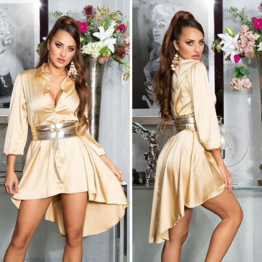 Vestido efecto seda oro [3]