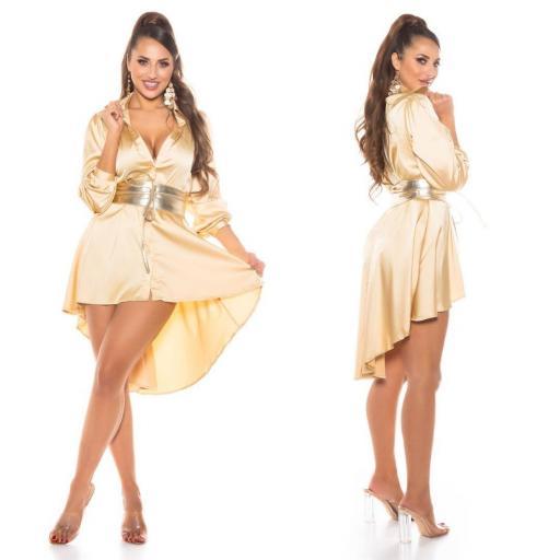 Vestido efecto seda oro [2]