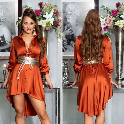 Vestido efecto seda bronce [2]