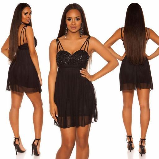 Vestido corto de fiesta plisado negro