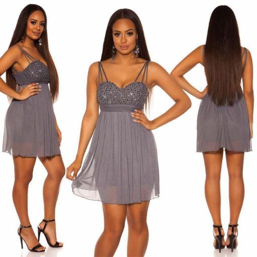Vestido corto de fiesta plisado gris