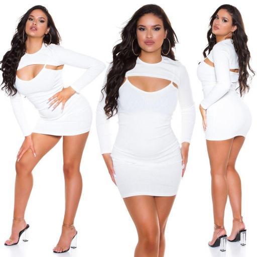 Vestido con top corto blanco