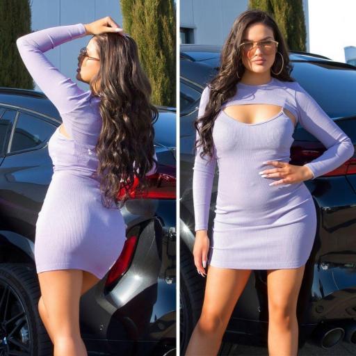 Vestido con top corto lila [3]