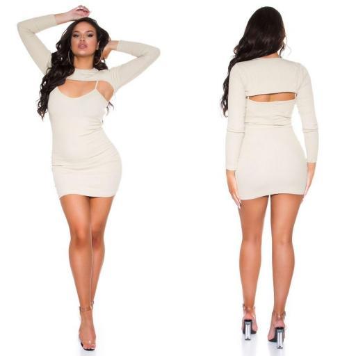 Vestido con top corto beige  [2]