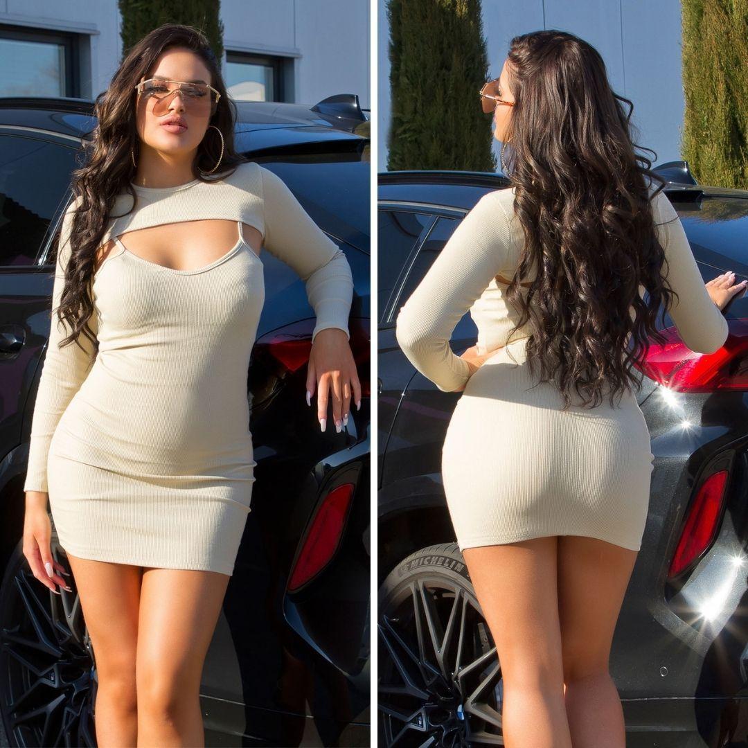 Vestido con top corto beige