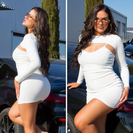 Vestido con top corto blanco [2]