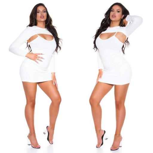 Vestido con top corto blanco [1]