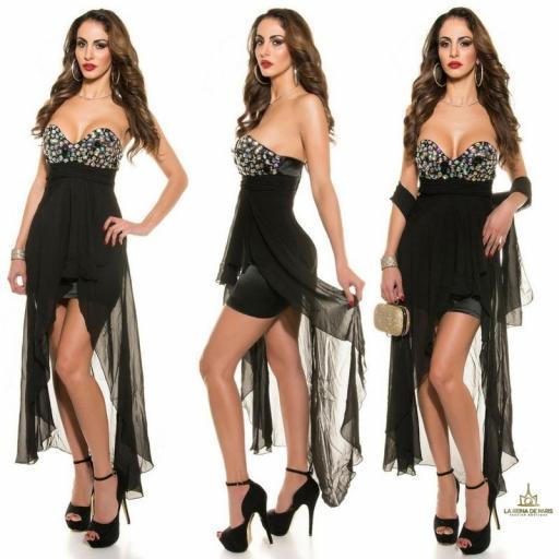 Vestido de noche negro con pedrería  [1]