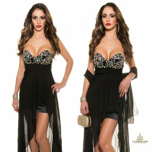 Vestido de noche negro con pedrería  [3]