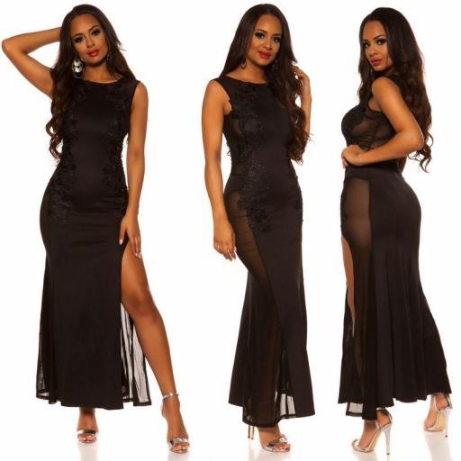 Vestido negro de espalda sexy [3]