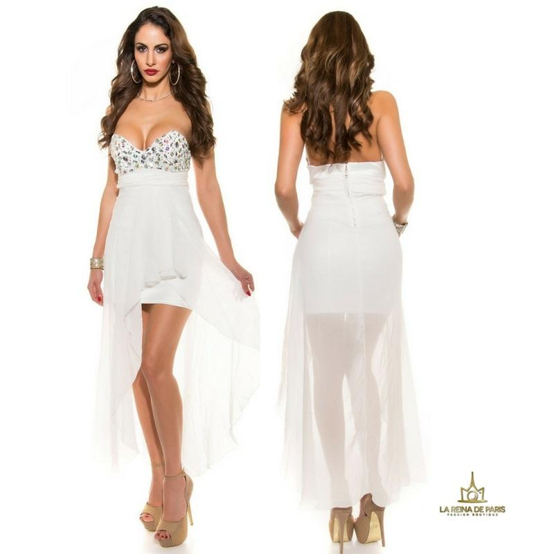 Vestido de noche blanco con pedrería