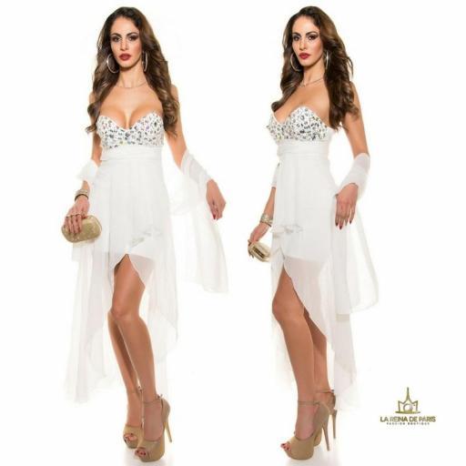 Vestido de noche blanco con pedrería [2]