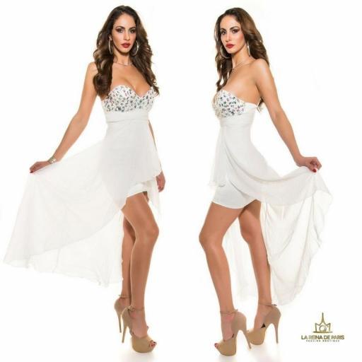 Vestido de noche blanco con pedrería [1]