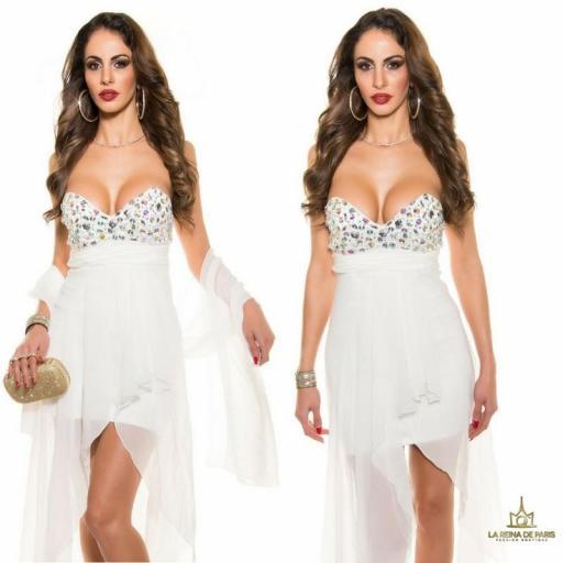 Vestido de noche blanco con pedrería [3]