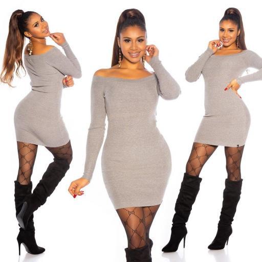 Vestido gris de punto ajustado   [3]