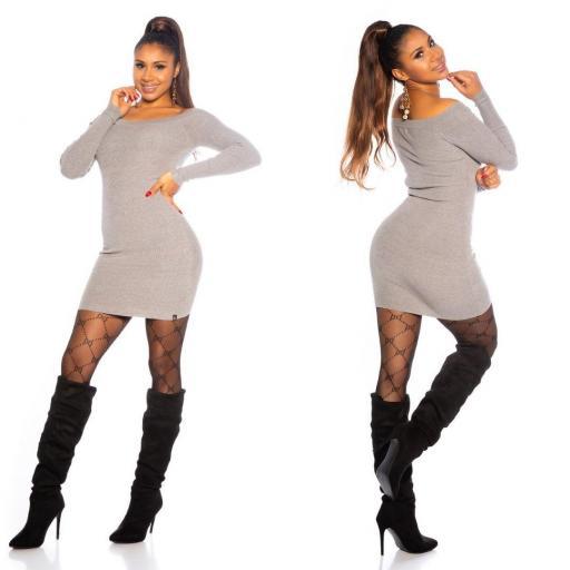 Vestido gris de punto ajustado   [2]