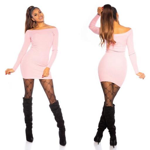 Vestido rosa de punto ajustado   [1]