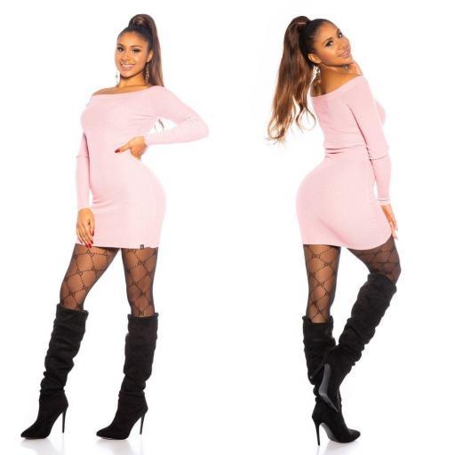 Vestido rosa de punto ajustado   [2]