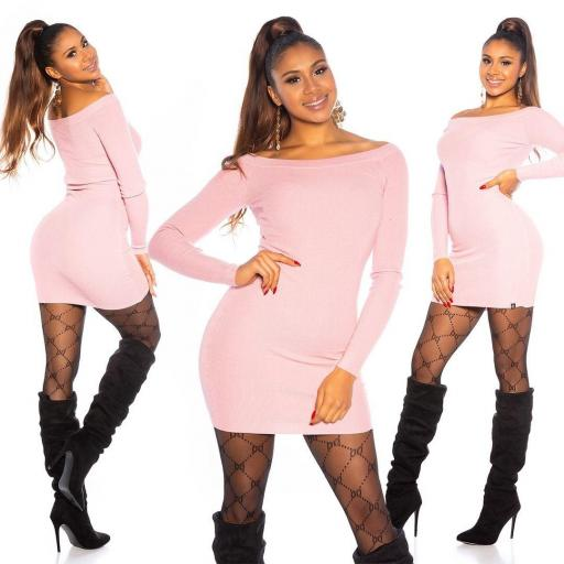 Vestido rosa de punto ajustado   [3]
