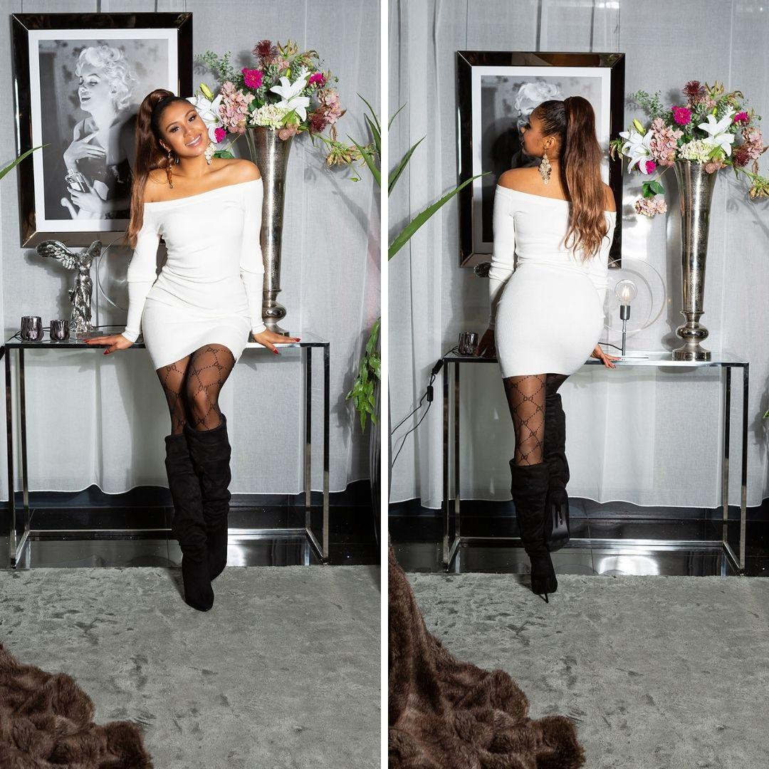 Vestido blanco de punto ajustado