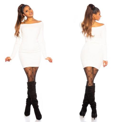 Vestido blanco de punto ajustado   [2]