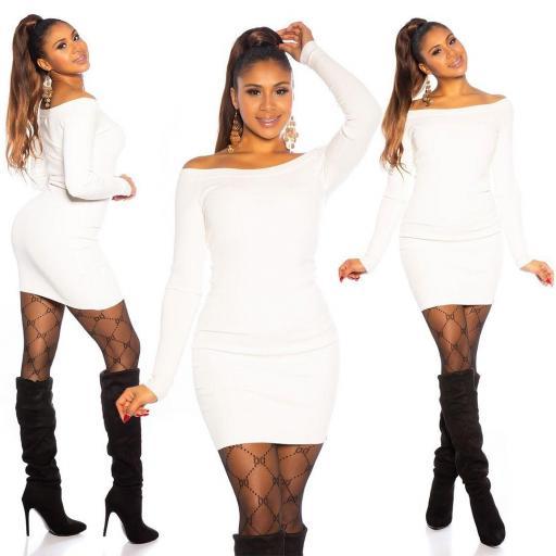 Vestido blanco de punto ajustado   [3]