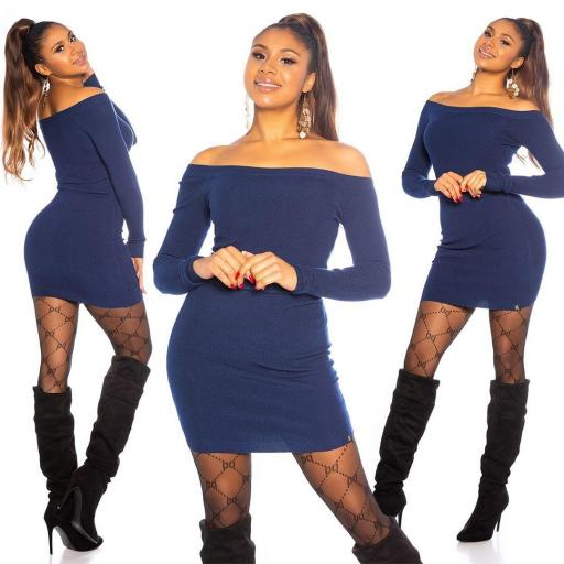 Vestido azul de punto ajustado   [3]