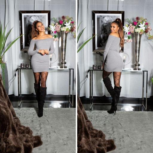 Vestido gris de punto ajustado